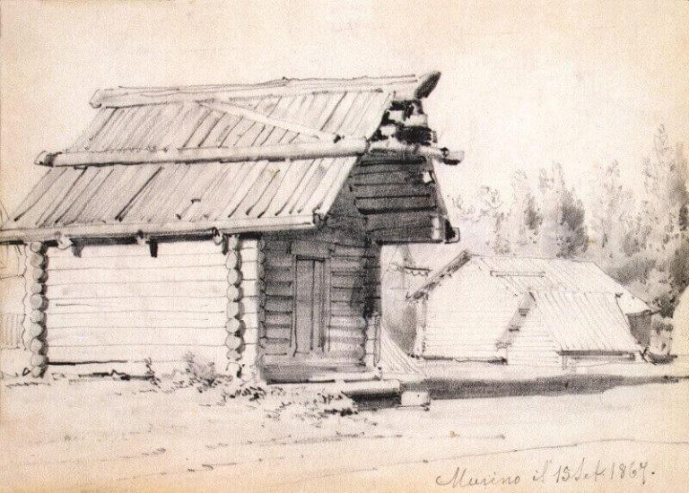 Набросок. Амбар и хозяйственные постройки. Мурино.