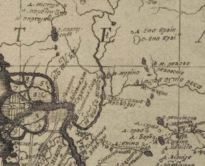 Фрагмент карты Ингерманландии 1727